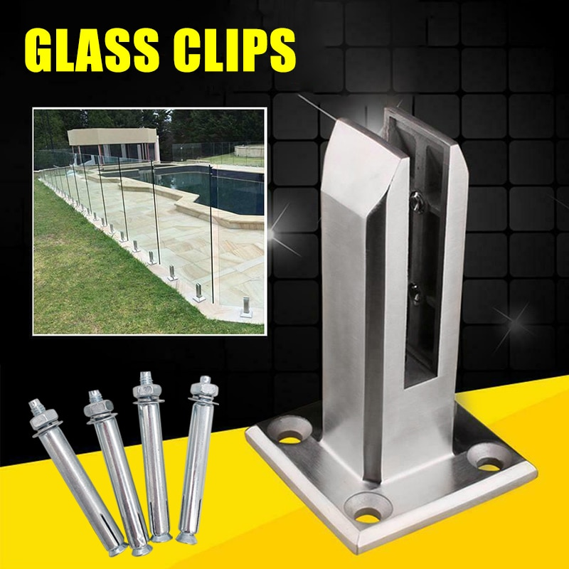 الثقيلة الفولاذ المقاوم للصدأ سياج بركة الزجاج كليب الطابق الزجاج حامل تركيبات ثابتة المشبك دروبشيب باب الأجهزة تحسين المنزل