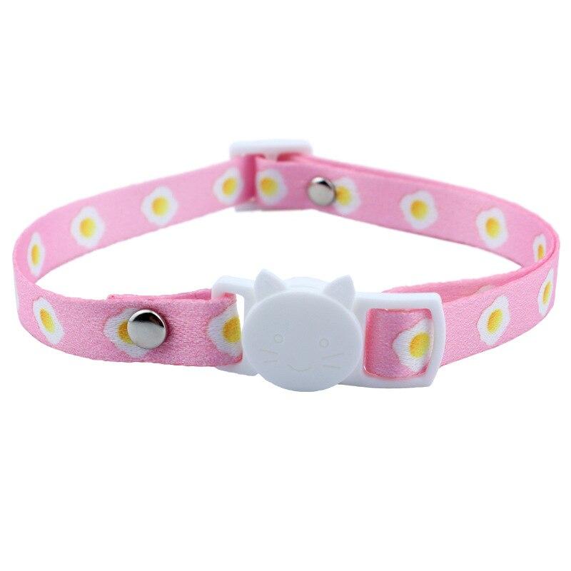 Collar de gato de dibujos animados, cinta estampada, hebilla ajustable personalizada, antiasfixia,...