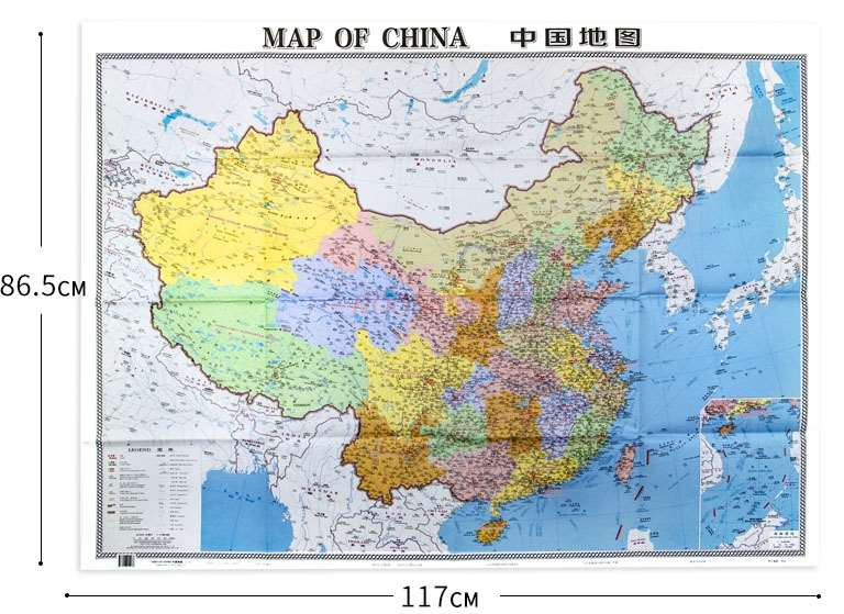 Chinese map Chinese and English contrast Large scale Clear and easy to read Large size foldable map Home office travel