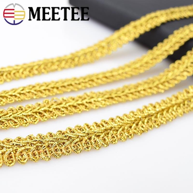 Meetee, adornos de encaje dorado de punto, cinta de lentejuelas, línea de recorte, tela, accesorios de costura para ropa, manualidades DIY