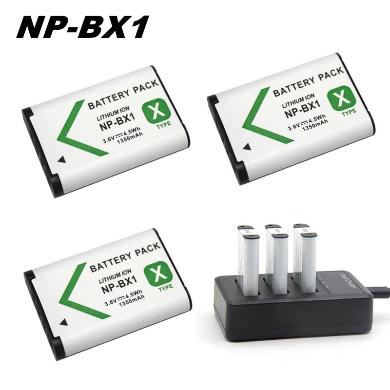5pcs 3.6V Slots Carregador para Sony np bx1 Bateria + 3 NP-BX1 DSC-RX100 DSC-WX500 IV HX300 WX300 HDR-AS15 X3000R MV1 AS30V HDR-A300