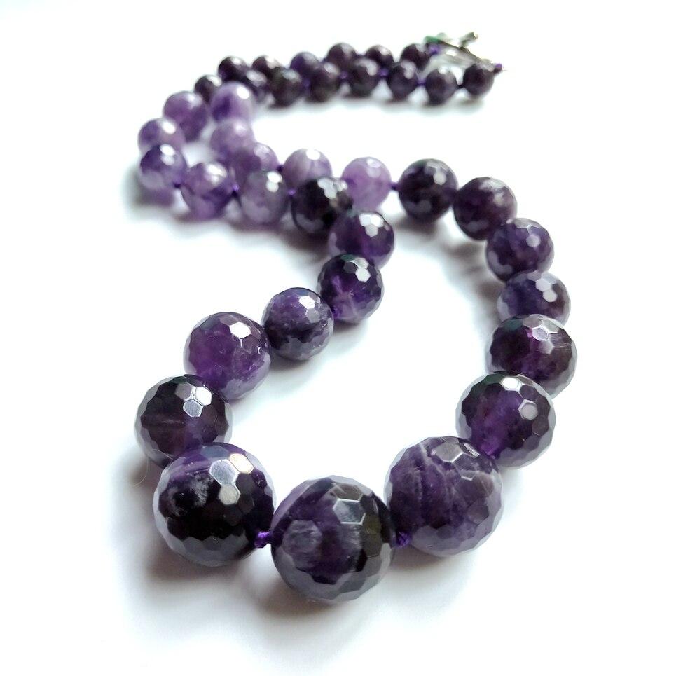 Liiji Unieke Natuurlijke Real Purple Amethisten Approx5x8mm-12x18mm Choker Mode Ketting 48 Cm Mooie Party Moeders Dag Gift amethist necklace