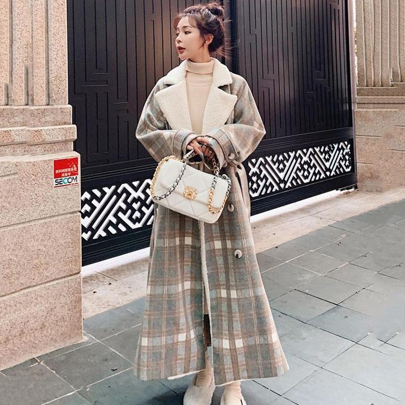 معطف صوفي نسائي طويل شتوي منقوش ثوب نسائي سميك صوف خروف فضفاض جودة موضة سترة ثنائية الصدر جديد