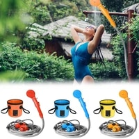 car shower portable outdoor shower nozzle convenient for camping and bathing with 20l folding bucket set outdoor camping