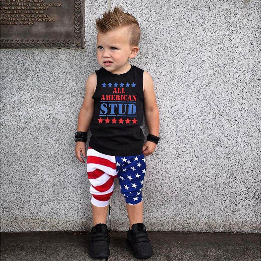 Moda niños 0-3 años niños pequeños 4th-of-July algodón o-cuello con rayas y estrellas patriótico camiseta pantalones conjunto H4