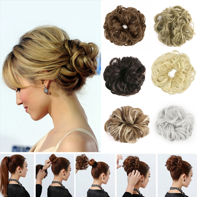 bun bun button Messy Bun, Hair Bun Extensions Wavy Curly Messy Donut Chignons Hair Piece Wig Hairpiece for Women,hair Elastic Bun