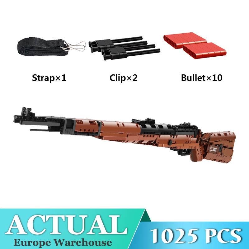 Serie Técnica SWAT, pistolas, Shotgun Can Fire Mauser 98K, modelo de Rifle de francotirador, Montaje de bloques, juguetes de Navidad para niños