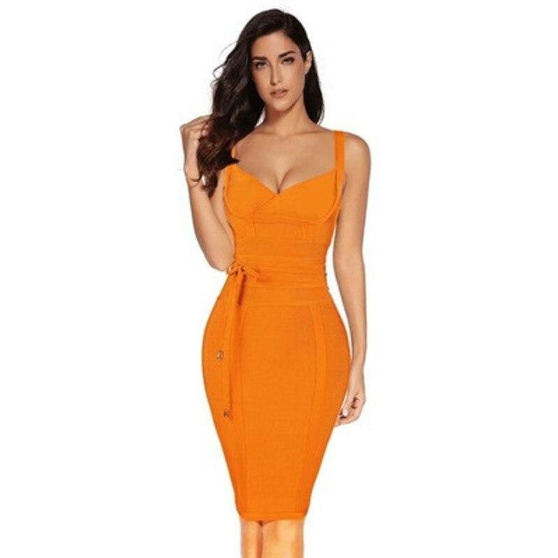 Sexy 2020 Bandage Dress New Arrivals Summer Yellow Bodycon Dress V Neck  Strap Orange Autumn Bandage Dress Party Women Spring