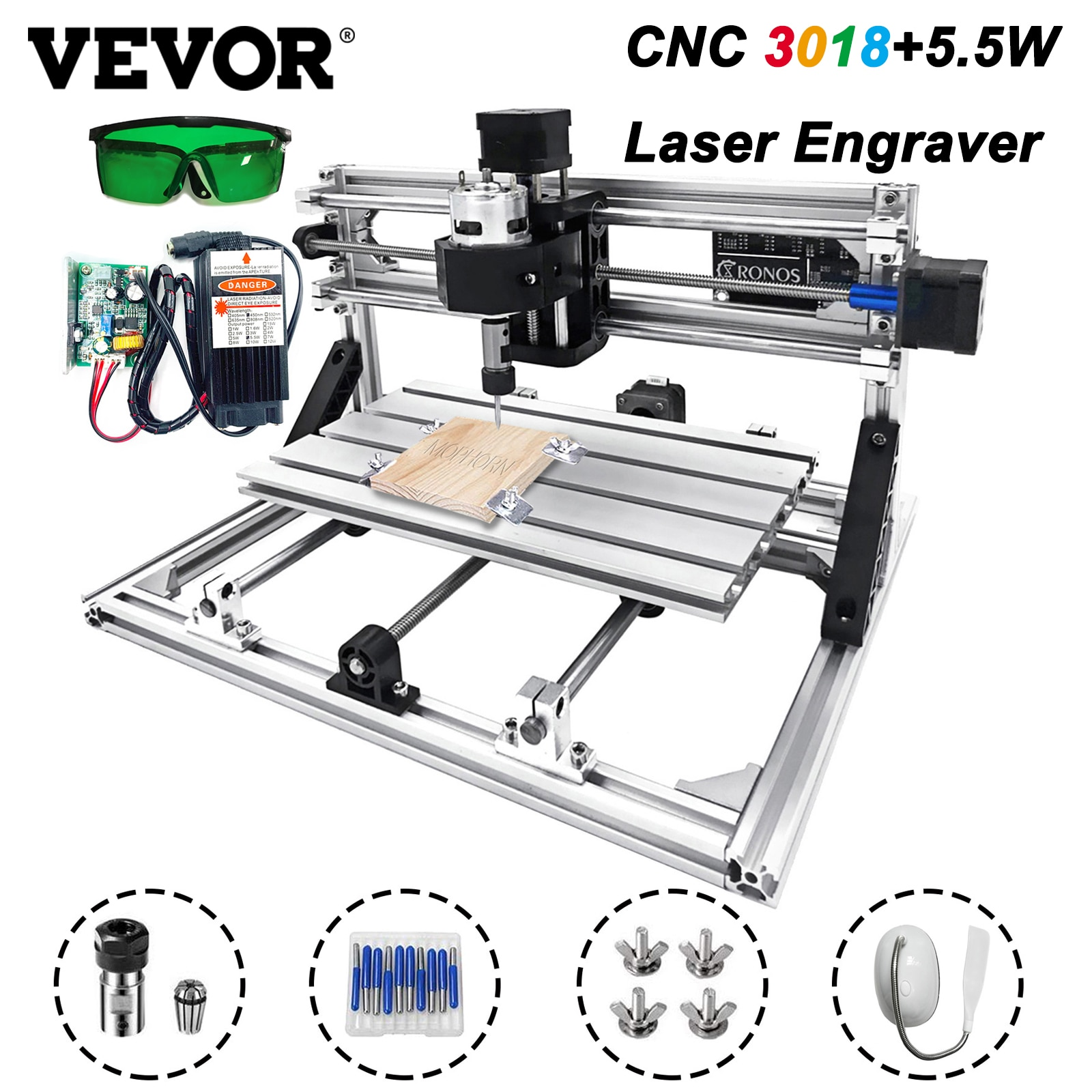 ماكينة الحفر بالليزر VEVOR 3018 ماكينة الحفر بالليزر 5.5 واط مجموعة قاطعة المطحنة بالليزر التحكم GRBL لتقوم بها بنفسك أعمال النجارة