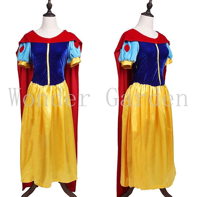 Nuevo vestido de princesa blanca de la nieve para mujer adulta con el disfraz del cabo de Halloween