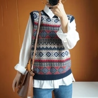 2021 spring wool vest womens horse vest round collar retro loose outer wear horse clip sleeveless plaid shoulder knit sweater