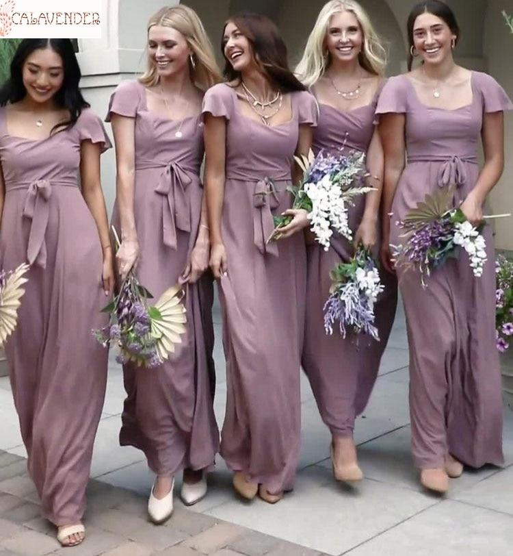 Vestidos de dama de honor de imitación de seda con mangas, escote cuadrado, línea A, vestido de fiesta corto elegante, boda, invitados