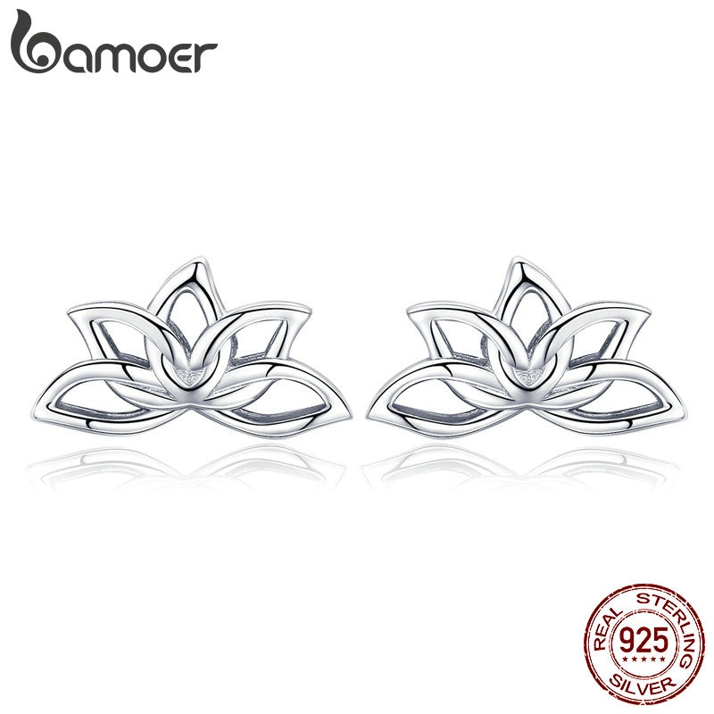 Bamoer nova chegada 925 prata esterlina flor de lótus brincos para as mulheres elegantes brincos de lótus jóias de prata bse024