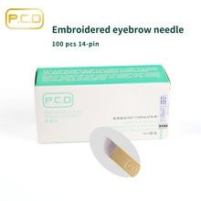 100 Uds. PCD maquillaje permanente de cejas hoja curvada 14 agujas Manual agujas de tatuaje de cejas envío gratis C0