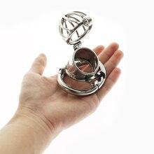 Pour les dispositifs de chasteté masculine en acier inoxydable Cage à bite coq verrouillage anneau de coq avec couverture de pénis actif serrures furtives jouets sexuels