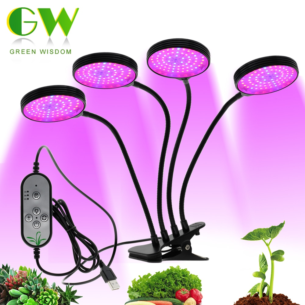 Full Spectrum Phytolamps DC5V USB LED Grow Light with Timer 15W 30W 45W 60W Desktop Clip Phyto Lamps for Plants Flowers Grow Box