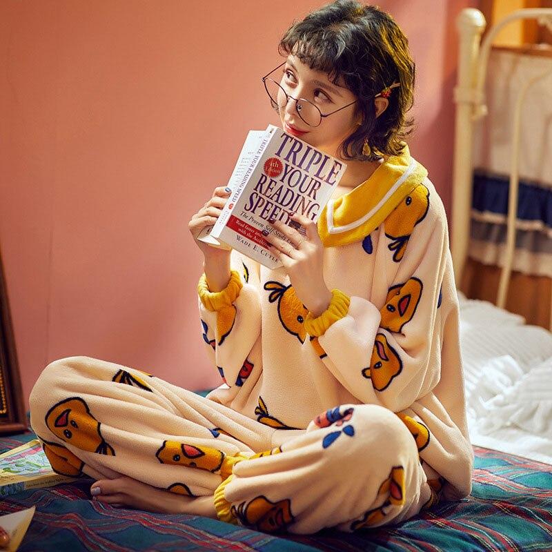 Pijamas de mujer, conjunto de 2 piezas de Pijama de franela de manga larga con dibujo de pato, Pijama de mujer para el hogar