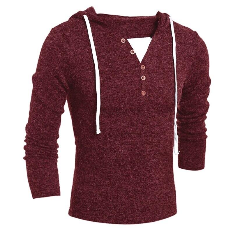 Свитер мужской, пуловеры с длинным рукавом, однотонный, новая мода, Мужской Повседневный свитер с капюшоном, Зимняя Теплая мужская одежда, п...