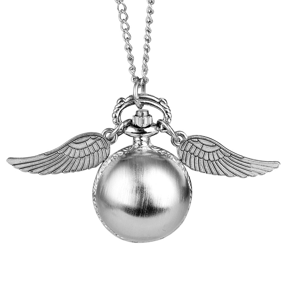 Snitch Ball Themed Pocket Watch Children Quartz Necklace Clock Lovely Pendant Watch with Sweater Chain Boy Girl Birthday Gifts fashion silver heart shaped lovely hollow elegant quartz pocket watch necklace pendant for women ladies girl birthday gift p605