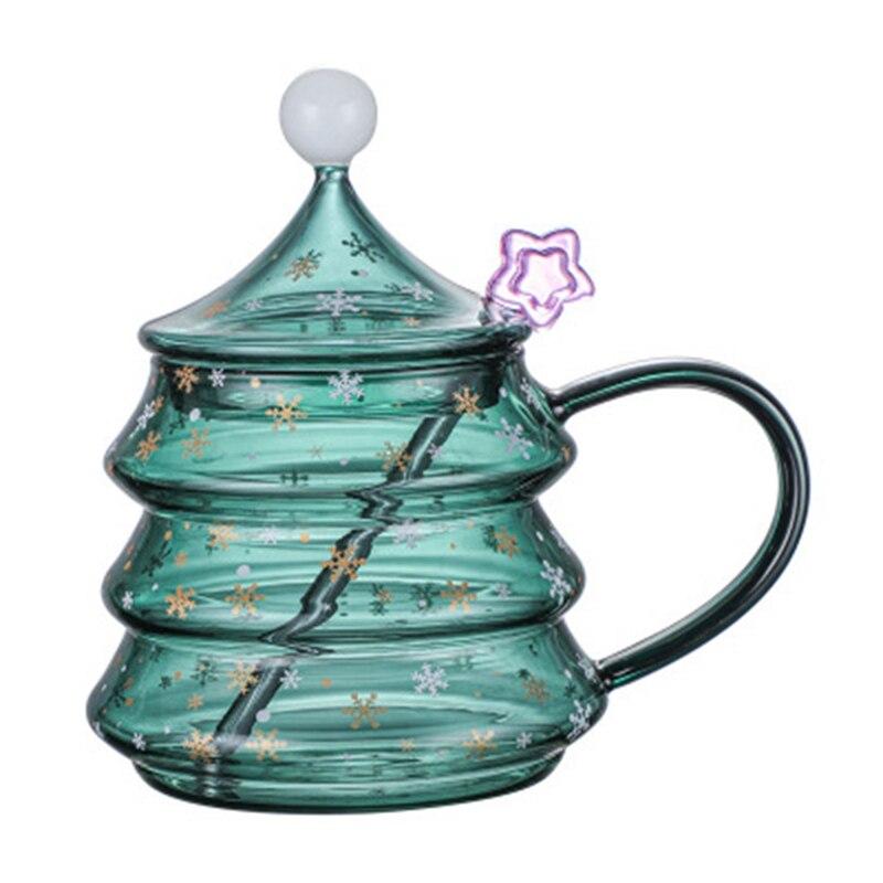 الإبداعية هدية عيد الميلاد كأس شجرة عيد الميلاد زجاج بوروسيليليك مرتفع بغطاء