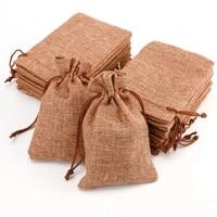 1050pcs mini jute drawstring burlap bags light coffee wedding favor hessian vintage sack pouches wedding birthday gift bags