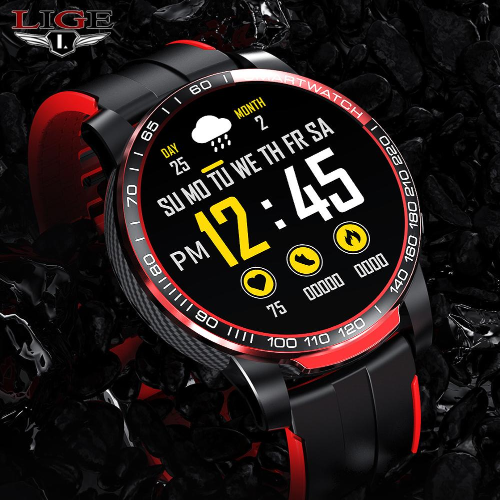 LIGE الرجال ساعة ذكية الرجال بلوتوث دعوة مقاوم للماء الرياضة اللياقة البدنية ساعة تعقب الصحة الطقس smartwatch النساء ل أندرويد Ios