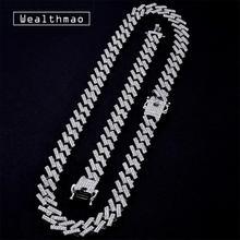 15mm chaîne cubaine mode glacé broche or argent couleur lien chaînes colliers cristal strass Hip Hop hommes collier
