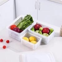 3 size drain basket with lid multifunctional refrigerator crisper vegetable basket kitchen organizer double layer storage basket