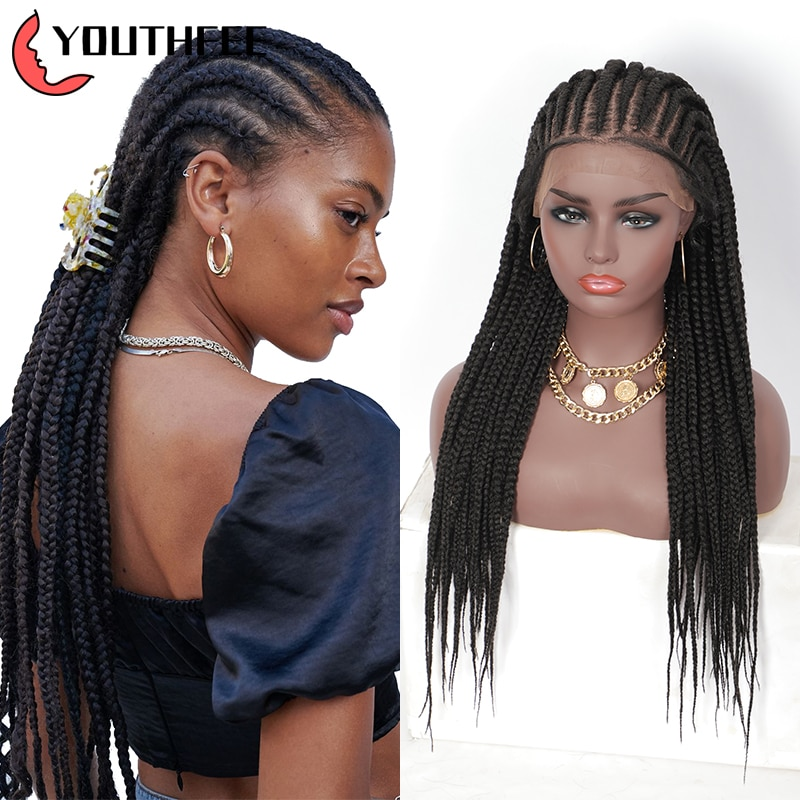 Youthfee 13X6 Swiss Lace Frontal Syntetic Wigs With Baby Hair 28