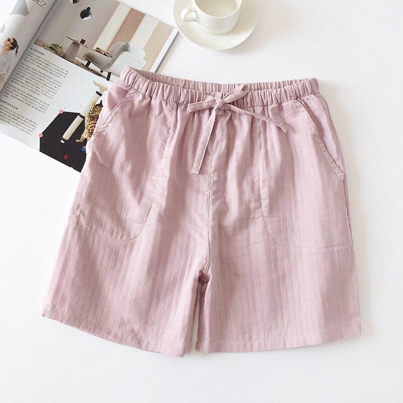 Японский простой летний женский% 27 пляж шорты 100% 25 хлопок марля мужчины 27% тонкий пара шорты дом брюки хлопок можно носить снаружи
