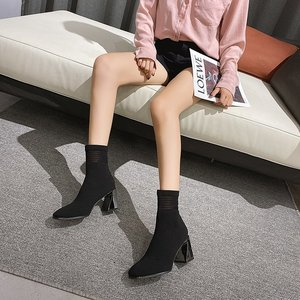 2020 Spring and Autumn mid-tube thick heel square-toe elastic boots for women knitted thin thin boots high heel socks boots X564
