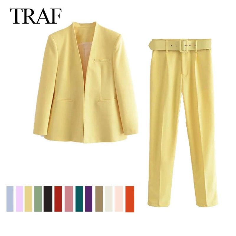 TRAF ZA المرأة سترة مجموعة الأزياء مكتب دعوى Pantsuit بسيطة بلون دعوى طوق طويل الأكمام + السراويل 2 قطعة مجموعة سترة