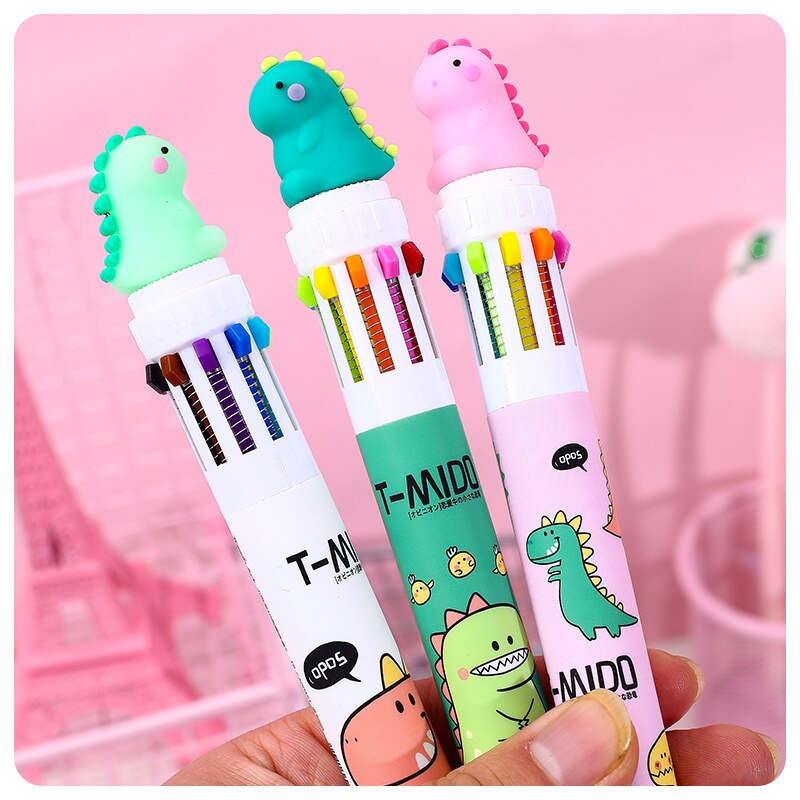 Маленький динозавр улыбка 10 Цветов шариковая ручка для школы офисные принадлежности подарок канцелярские принадлежности Papelaria Escolar