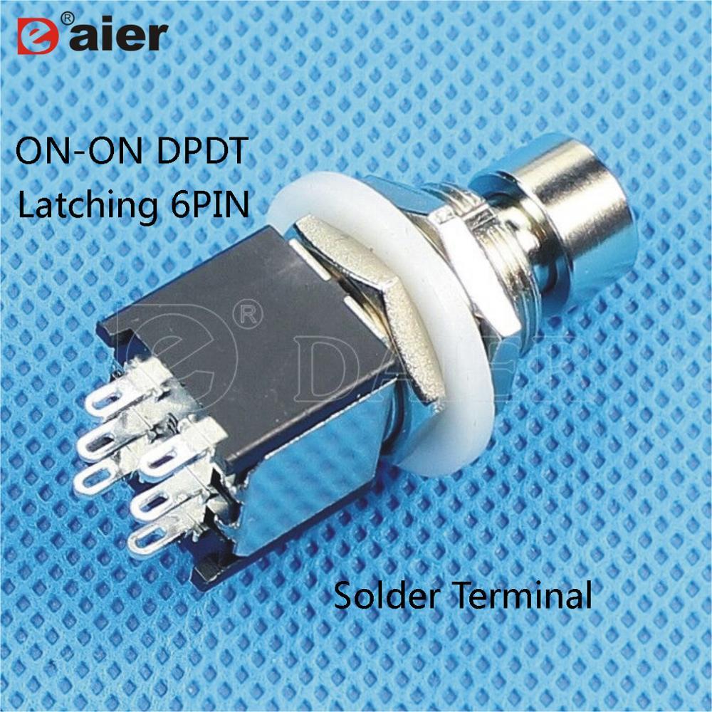 2 uds M12X0.75 interruptor de botón de 6 pines en DPDT doble poste de doble tiro de enganche/momentáneo para Pedal de efectos de guitarra