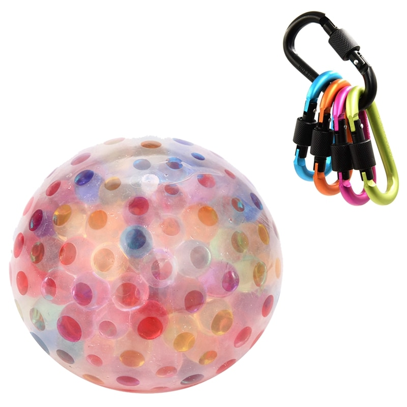 5 uds d-ring llavero de aleación de aluminio mosquetón bloqueo Clip gancho con pelota esponjosa multicolor juguete exprimible estrés juguete