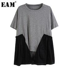 [EAM] Women Gray Pleated Asymmetrical  Temperament T-shirt New Round Neck Short Sleeve  Fashion Tide Spring Summer 2020 1U094