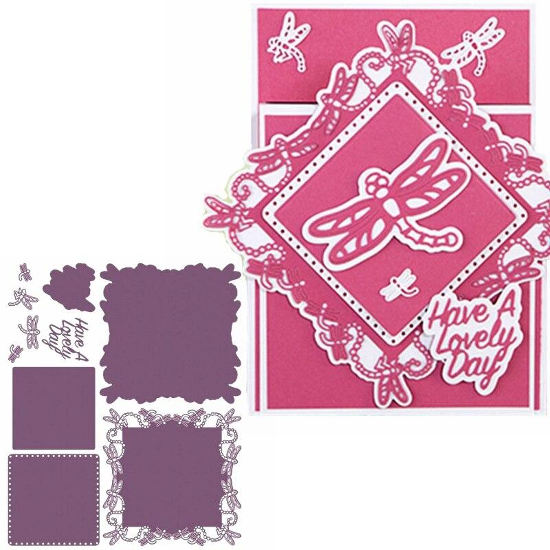 Dragonflies Border Circle Frame Metal Cutting Dies Frame&Phrase Die Cuts For DIY Card Making Decoration 2019 Crafts Cards