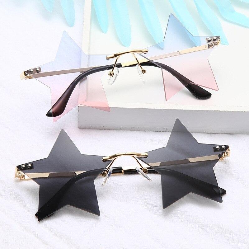 Star Rimless Sunglasses Woman 2020 Travel Shades Fashion Sun Glasses Retro Eyewear Gafas Vintage Mir