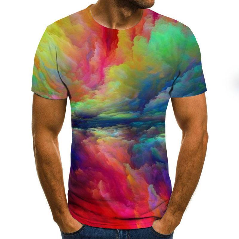 Novedad de verano, Camiseta con estampado 3D para hombre, pantalón corto casual, Camiseta con cuello redondo para hombre, camiseta a la moda con estampado de salpicaduras en 3D
