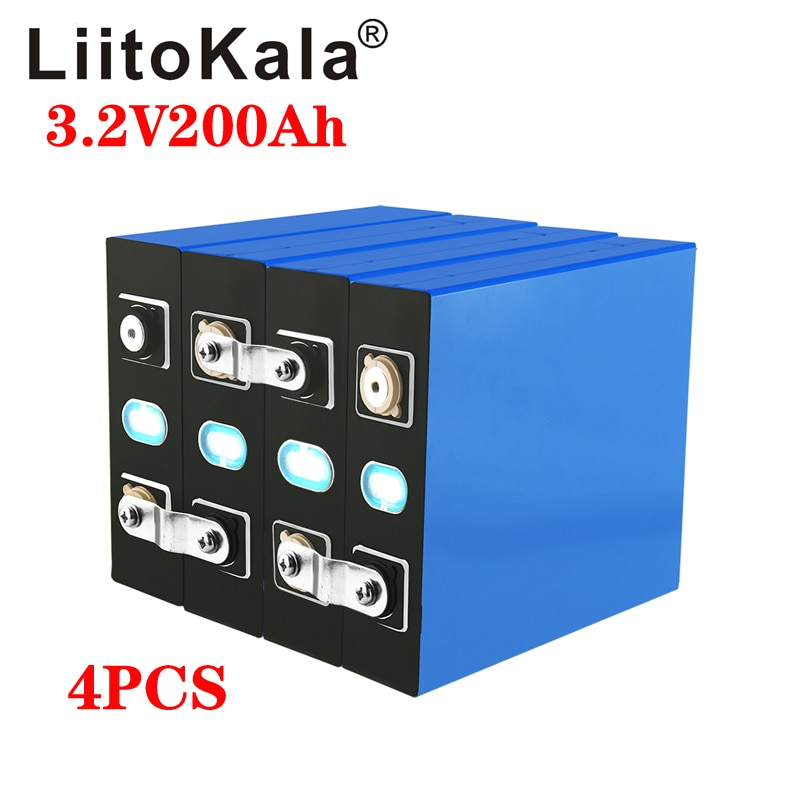 LiitoKala 4 قطعة 3.2v 200ah lifepo4 بطارية 24v200ah ليثيوم فوسفات الخليوي الشمسية الحديد الاتحاد الأوروبي usa روسيا تسليم سريع ضريبة شحن