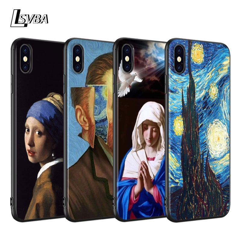 Housse noire pour iPhone 11 Pro coque souple Max peinture à lhuile vierge marie pour iPhone XS Max XR X 8 7 6S 6plus 5S 5 coque de téléphone