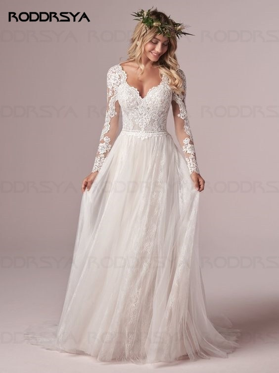 A Line Long Sleeve Wedding Dress Lace Bridal Dresses 2020 Tulle Ivory Vestido De Novia Open Back свадебное платье Plus Size