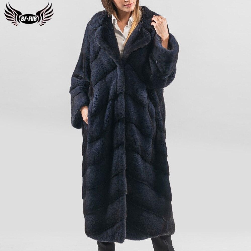 BFFUR, модные длинные шубы из натурального меха норки, женские зимние Роскошные пальто, шубы из натурального меха норки с отворотом, пальто
