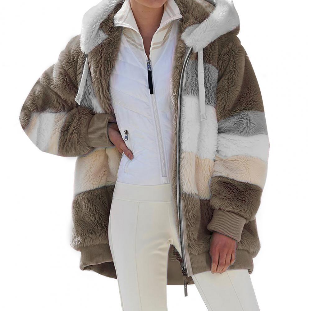 Женская одежда зимняя женская плюшевая куртка на молнии с капюшоном свободный топ модная теплая одежда женская куртка 2021