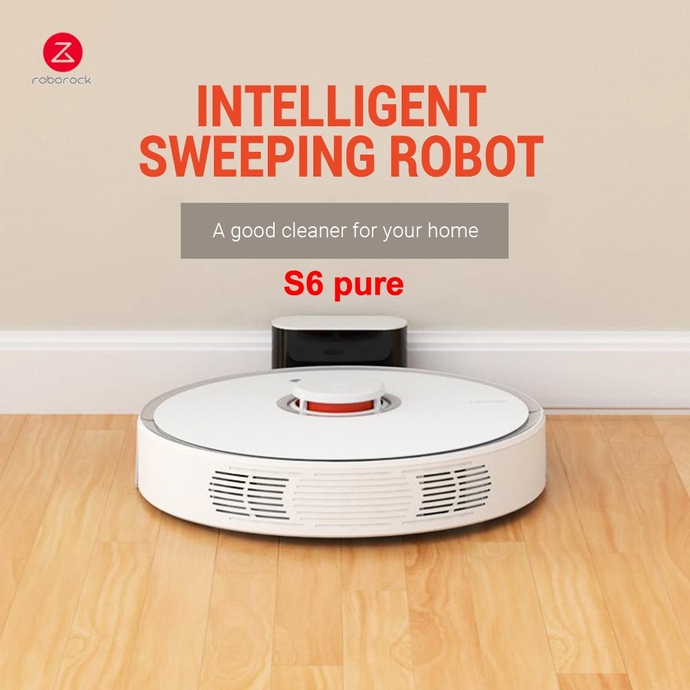 Roborock S6 Pure Robot Vacuum Cleaner Smart Sweeping Cleaning Machine 2000Pa Aspirator Pet Hair Carpet Dust Robotic Collector