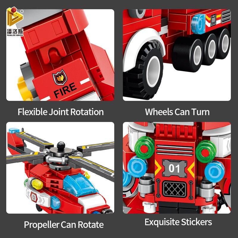 PANLOS 836pcs City Firefighter Aircraft Fire Truck Deformation Robot Building Blocks Children's Toy Stickers Gift Small Bricks