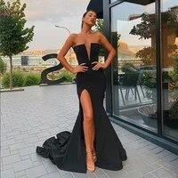 sexy high split mermaid black evening dresses 2020 elegant women deep v neck sleeveless formal party long prom gown abendkleider