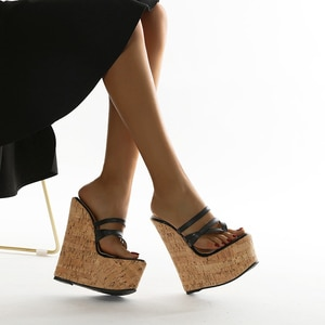 2021 New Summer Black Sexy Super 18CM High Heels Platform Wedges Narrow Band Pinch Slippers Women Sandals Mules Slippers Shoes