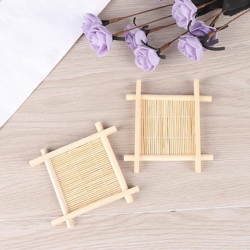 Bandeja jabonera de bambú de madera soporte rejilla para guardar jabón plato caja contenedor