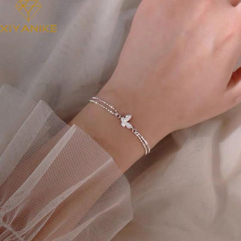 XIYANIKE 925 Sterling Silver Charm Bracelet for Women New Trendy Elegant Butterfly Zircon Bracelet C